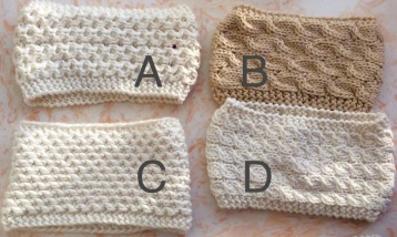 4 options for ear warmer pattern