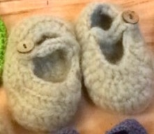 Rabbit fur baby booties